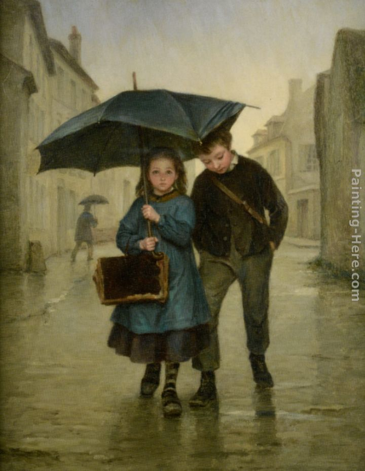 Going to School painting - Edouard Frere Going to School art painting