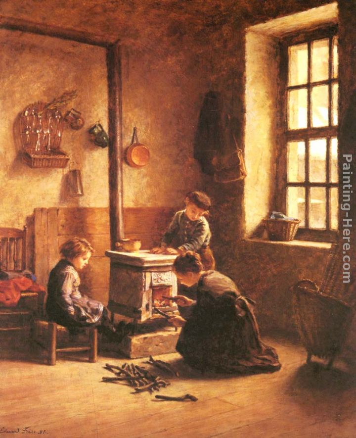 Lighting the Stove painting - Edouard Frere Lighting the Stove art painting