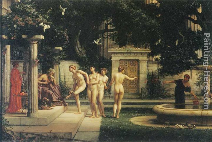 A visit to Aesclepius painting - Edward John Poynter A visit to Aesclepius art painting