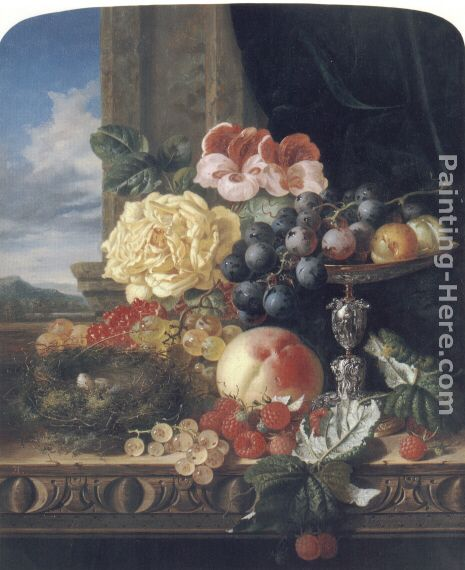 Still Life with Fruit, Flowers and a Bird's Nest painting - Edward Ladell Still Life with Fruit, Flowers and a Bird's Nest art painting