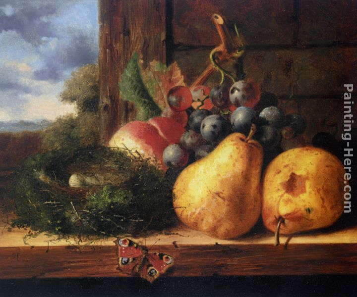 Still life with a birds nest and fruit painting - Edward Ladell Still life with a birds nest and fruit art painting