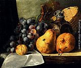 Pears, Grapes, A Greengage, Plums A Stoneware Flask And A Wicker Basket On A Wooden Ledge