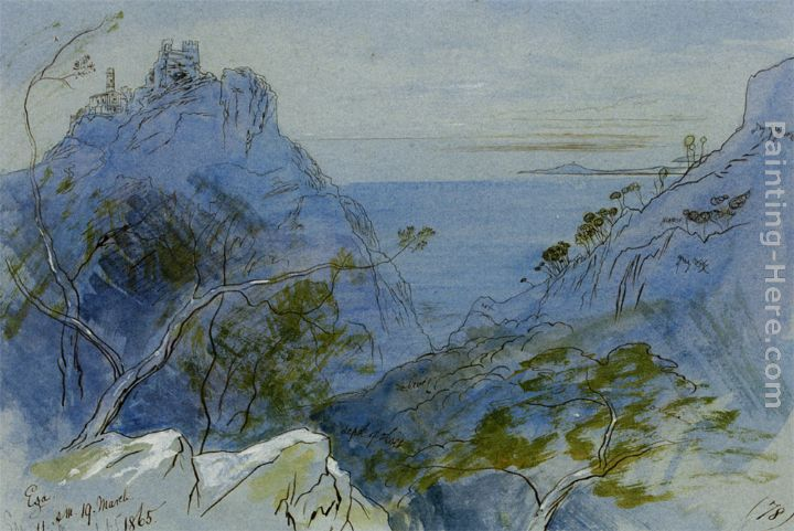 Eze Cote dAzur France painting - Edward Lear Eze Cote dAzur France art painting