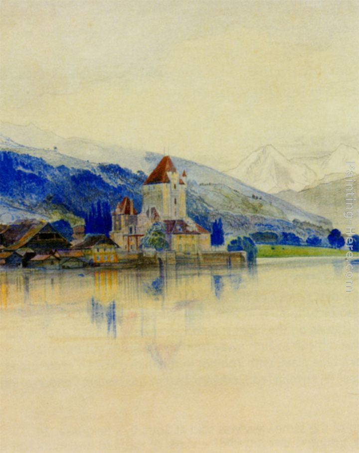 Lake Thun with the Schloss Oberhofen painting - Edward Lear Lake Thun with the Schloss Oberhofen art painting