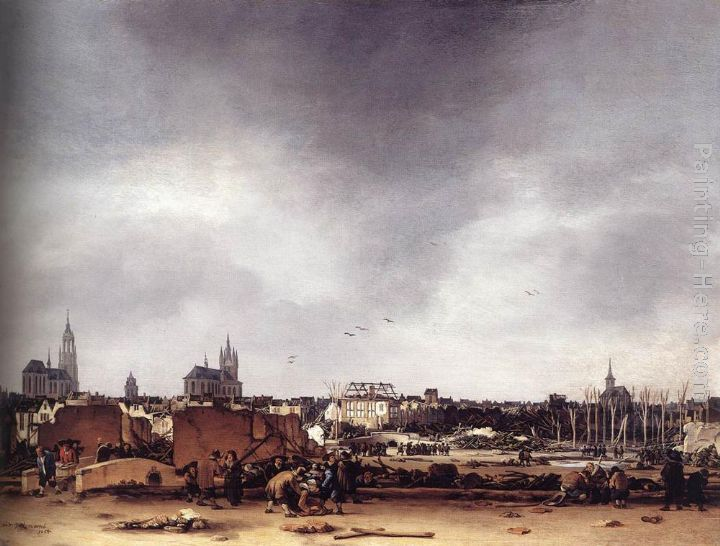 Egbert van der Poel View of Delft after the Explosion of 1654 Art Painting