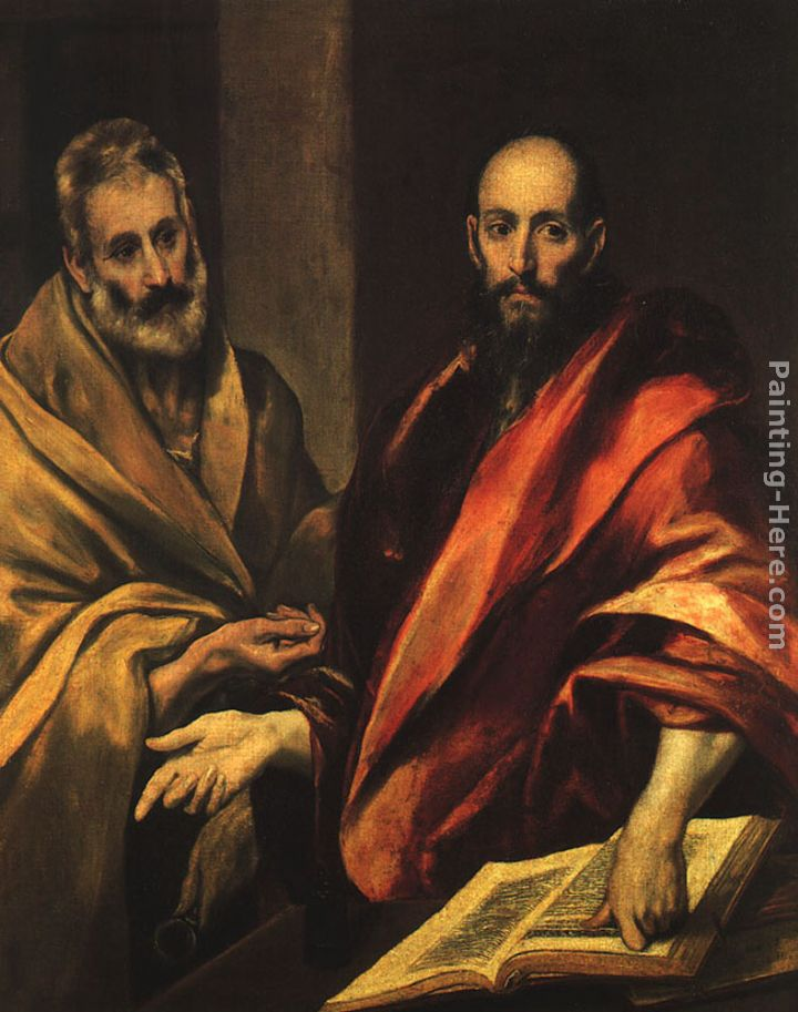 Apostles Peter and Paul painting - El Greco Apostles Peter and Paul art painting