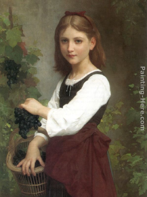 Young Girl Holding a Basket of Grapes painting - Elizabeth Jane Gardner Bouguereau Young Girl Holding a Basket of Grapes art painting