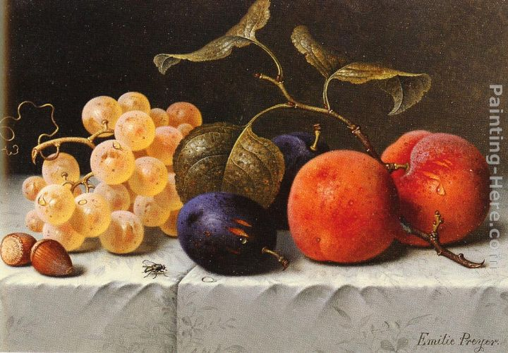 Emilie Preyer Still Life with Fruit and Nuts Art Painting