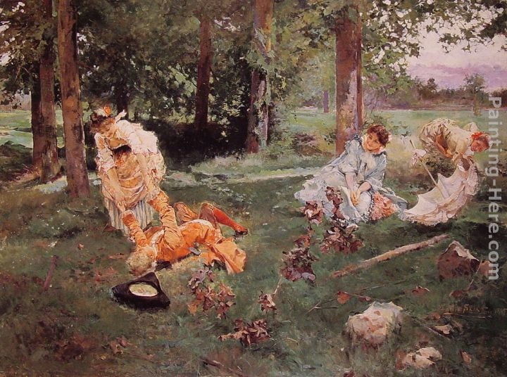 Elegant figures in a Summer Garden painting - Emilio Sala y Frances Elegant figures in a Summer Garden art painting