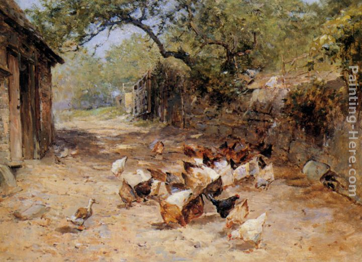 Chickens in a Farmyard painting - Ernst Walbourn Chickens in a Farmyard art painting
