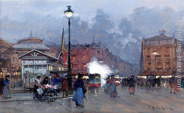 Eugene Galien-Laloue La Bourse, Paris Art Painting