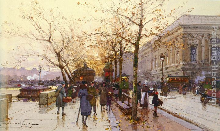 Les Quais De Paris painting - Eugene Galien-Laloue Les Quais De Paris art painting
