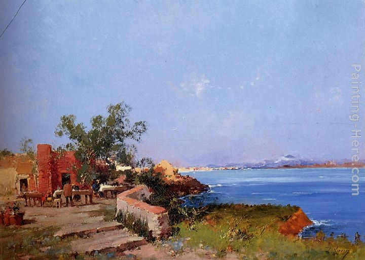 Eugene Galien-Laloue Lunch On A Terrace With A View Of The Bay Of Naples Art Painting