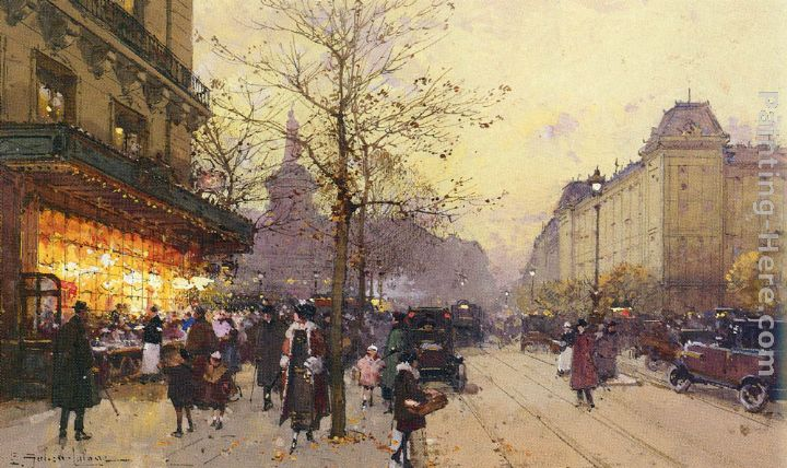Place De La Republique, Paris painting - Eugene Galien-Laloue Place De La Republique, Paris art painting