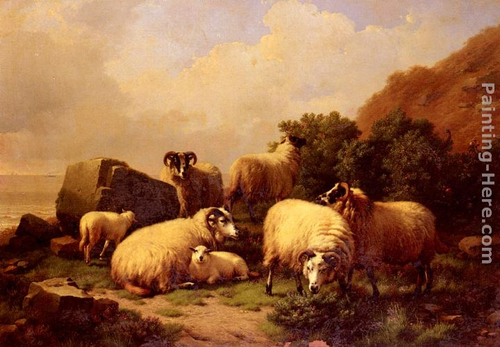 Eugene Verboeckhoven Sheep Grazing By The Coast Art Painting