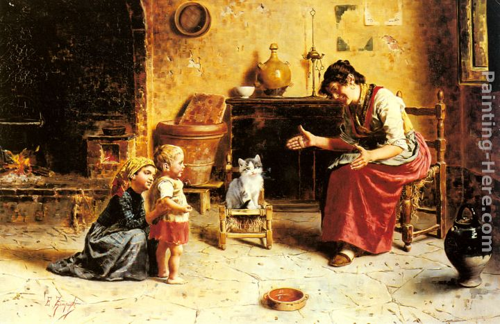 A Child's First Step painting - Eugenio Zampighi A Child's First Step art painting