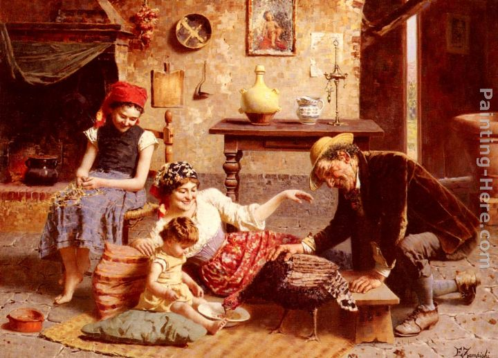 A Happy Family painting - Eugenio Zampighi A Happy Family art painting