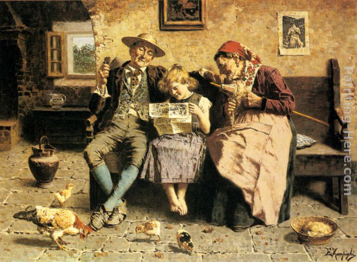 Reading the News painting - Eugenio Zampighi Reading the News art painting