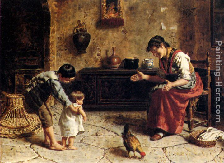 The First Steps painting - Eugenio Zampighi The First Steps art painting