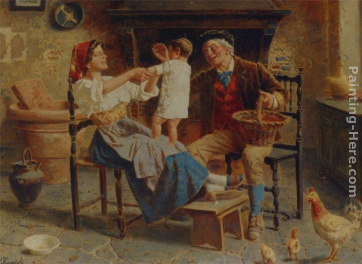 The Happy Family painting - Eugenio Zampighi The Happy Family art painting