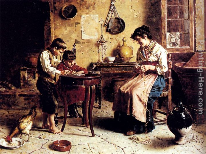 The Writing Lesson painting - Eugenio Zampighi The Writing Lesson art painting