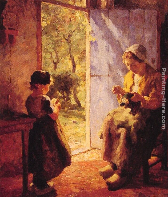 The Sewing Lesson painting - Evert Pieters The Sewing Lesson art painting