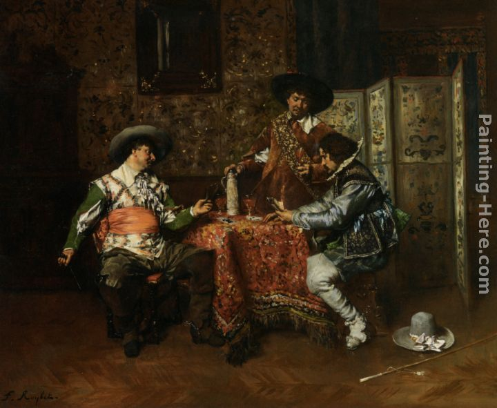 A Game of Cards painting - Ferdinand Roybet A Game of Cards art painting