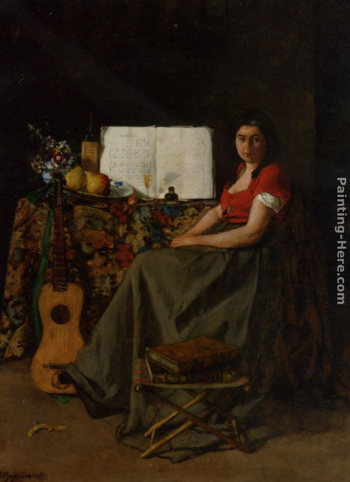 Ferdinand Roybet The Guitar Player Art Painting