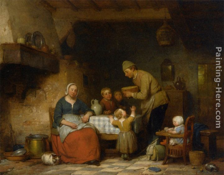 Superb A Peasant Family Gathered Around The Kitchen Table Painting   Ferdinand De  Braekeleer A Peasant Family