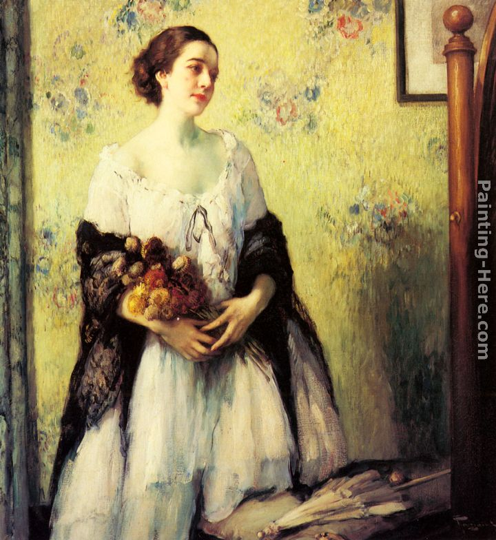 A Young Woman holding a Bouquet of Summer Flowers painting - Fernand Toussaint A Young Woman holding a Bouquet of Summer Flowers art painting