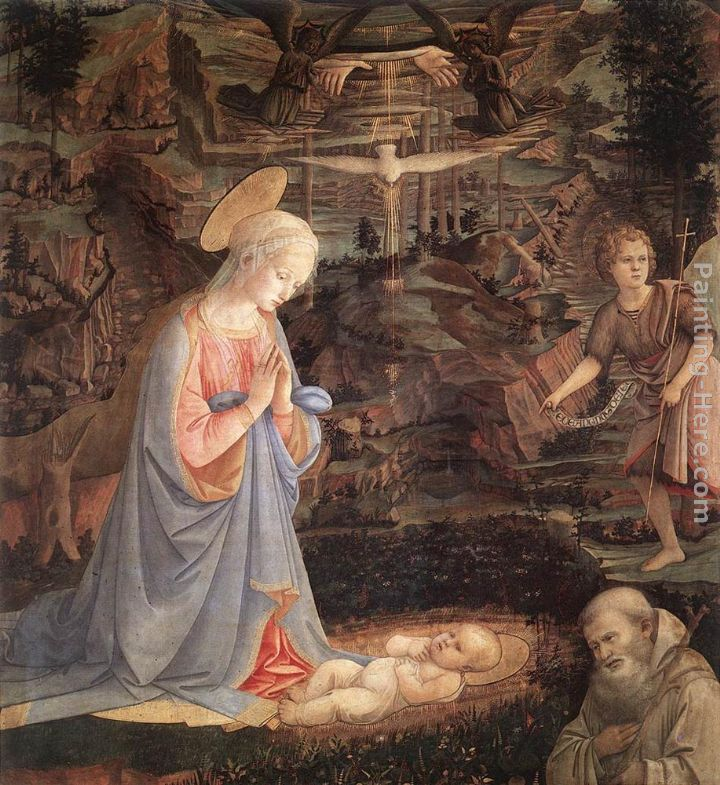 Adoration of the Child with Saints painting - Fra Filippo Lippi Adoration of the Child with Saints art painting