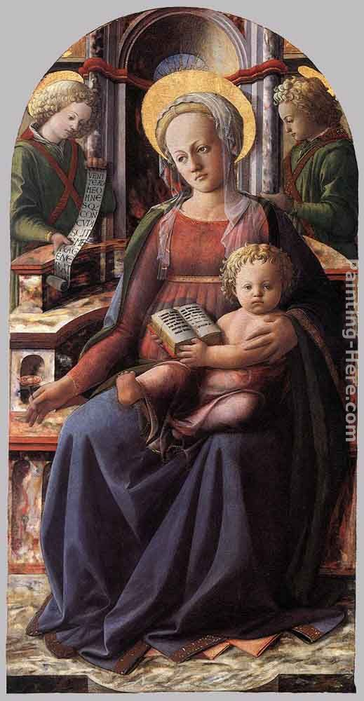 Madonna and Child Enthroned with Two Angels painting - Fra Filippo Lippi Madonna and Child Enthroned with Two Angels art painting