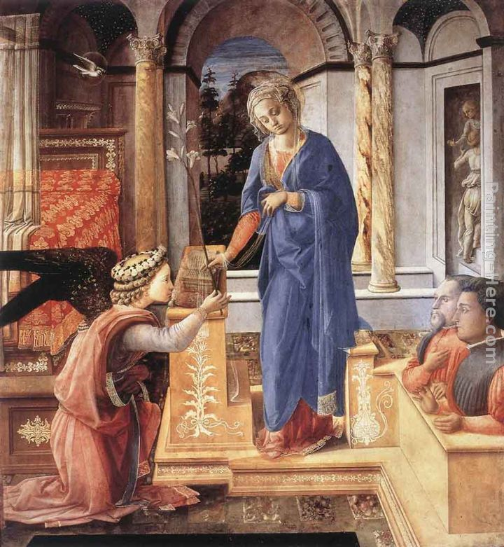 The Annunciation with two Kneeling Donors painting - Fra Filippo Lippi The Annunciation with two Kneeling Donors art painting