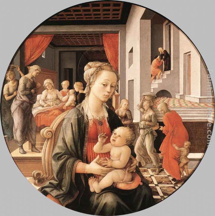 Virgin with the Child and Scenes from the Life of St Anne painting - Fra Filippo Lippi Virgin with the Child and Scenes from the Life of St Anne art painting