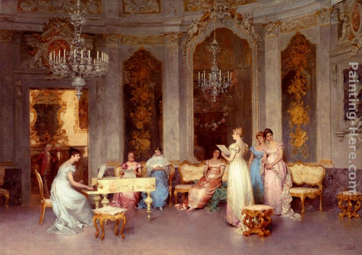 Parlor Scene painting - Francesco Beda Parlor Scene art painting