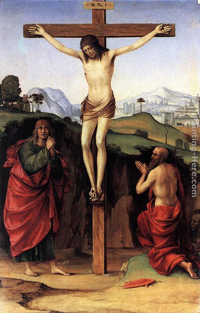 Crucifixion with Sts John and Jerome painting - Francesco Francia Crucifixion with Sts John and Jerome art painting
