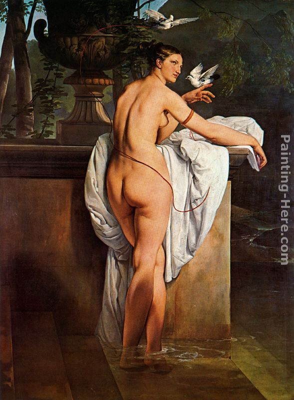 Venus Playing with Two Doves (Portrait of the Ballerina Carlotta Chabert) painting - Francesco Hayez Venus Playing with Two Doves (Portrait of the Ballerina Carlotta Chabert) art painting