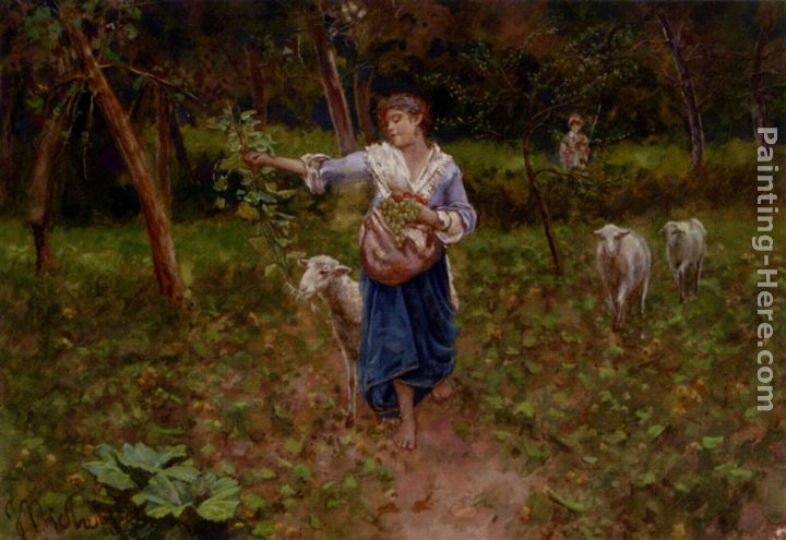 A Shepherdess In A Pastoral Landscape painting - Francesco Paolo Michetti A Shepherdess In A Pastoral Landscape art painting