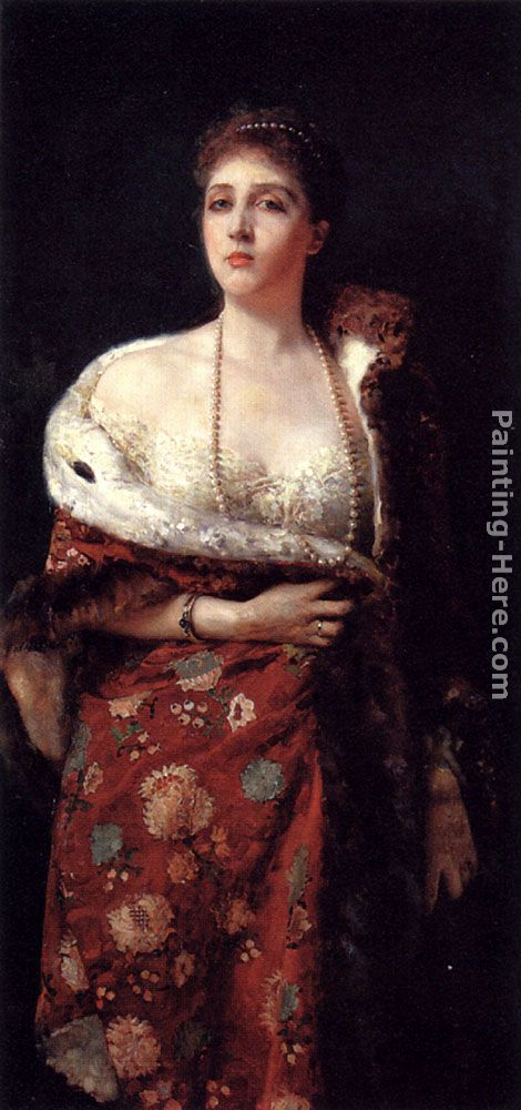 Portrait Of A Lady painting - Francesco Paolo Michetti Portrait Of A Lady art painting