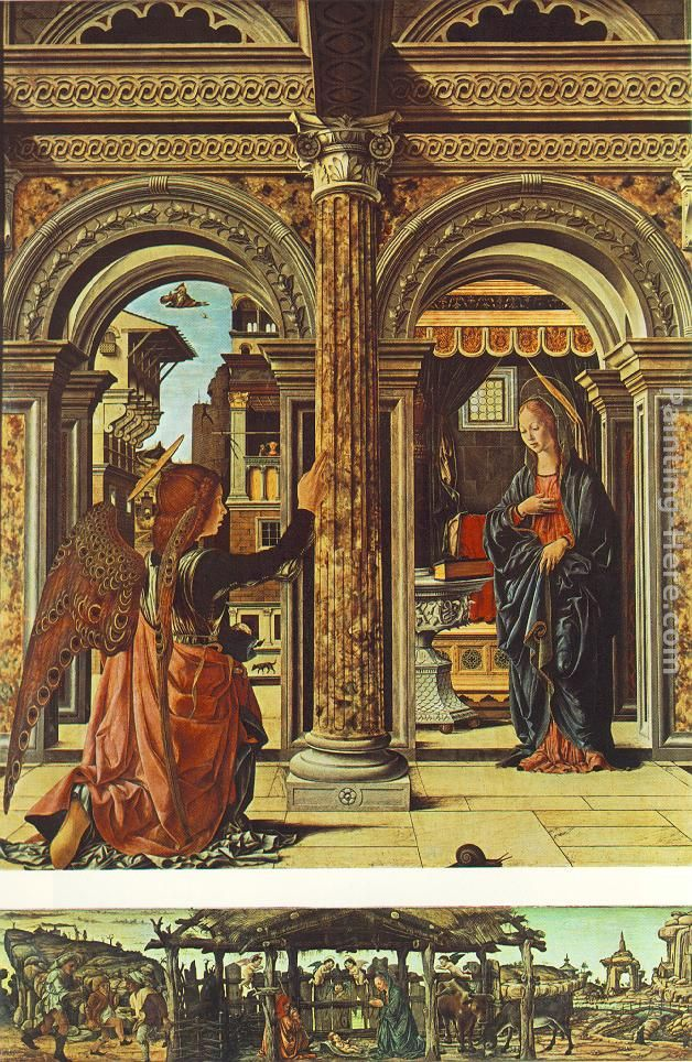 Annunciation and Nativity (Altarpiece of Observation) painting - Francesco del Cossa Annunciation and Nativity (Altarpiece of Observation) art painting