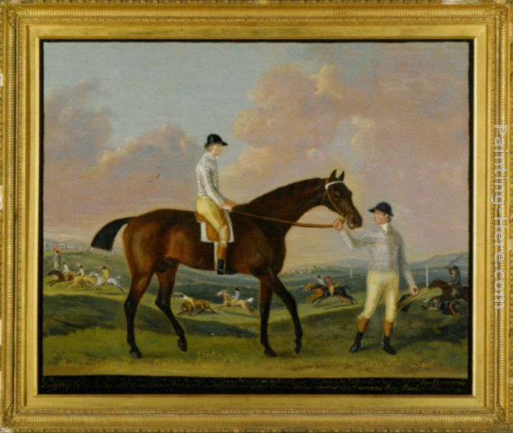 Francis Sartorius Portrait of Henry Comptons Race Horse Cottager Held by a Groom with Jockey and a Race Beyond Art Painting