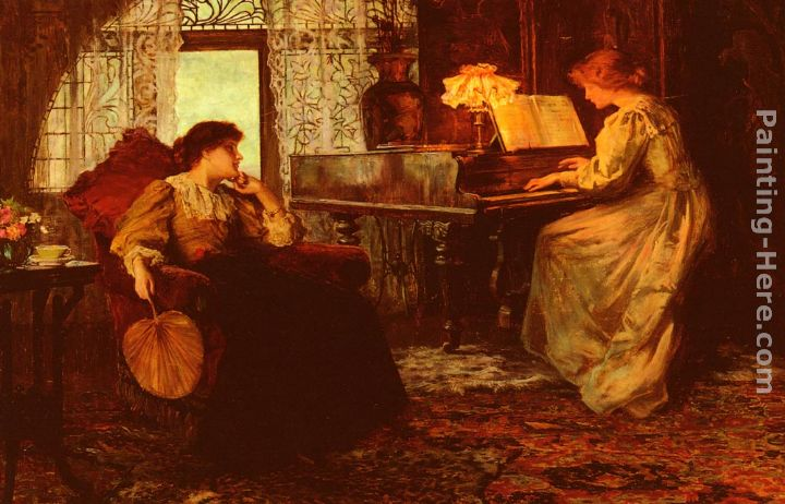 Francis Sidney Muschamp The Piano Lesson Art Painting