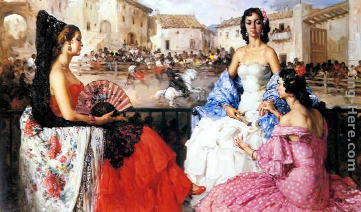 Elegant Women Watching a Bull Fight painting - Francisco Rodriguez San Clement Elegant Women Watching a Bull Fight art painting