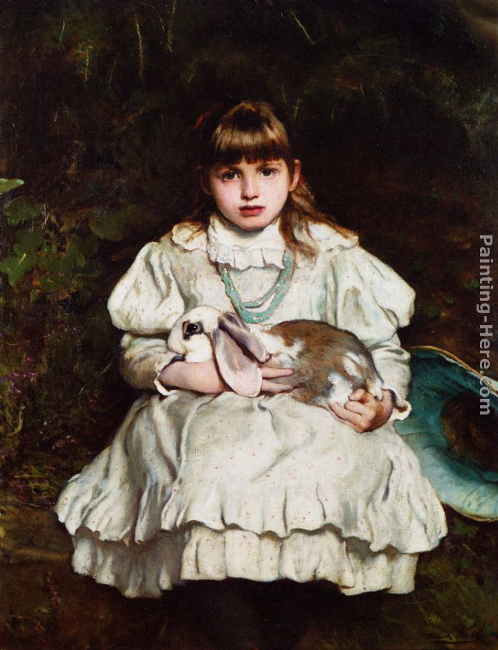 Frank Holl Portrait of a Young Girl Holding a Pet Rabbit Art Painting