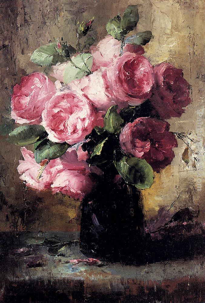 Frans Mortelmans Pink Roses In A Vase Painting Anysize 50 Off
