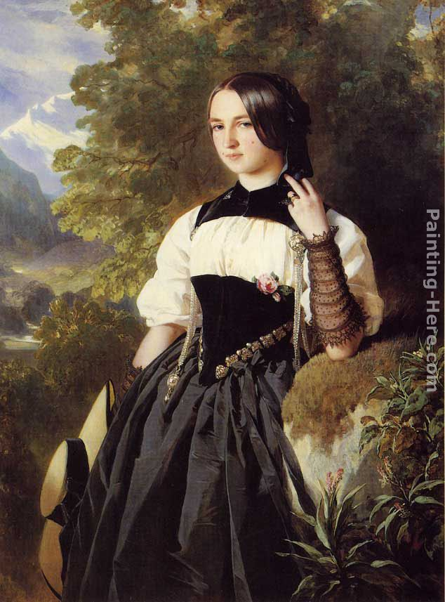 Franz Xavier Winterhalter A Swiss Girl from Interlaken Art Painting