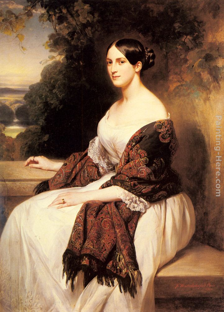 Portrait of Madame Ackerman, the wife of the Chief Finance Minister of King Louis Philippe painting - Franz Xavier Winterhalter Portrait of Madame Ackerman, the wife of the Chief Finance Minister of King Louis Philippe art painting