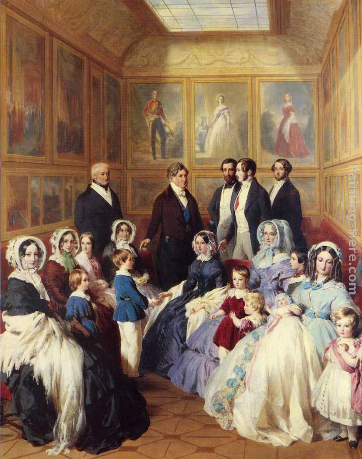 Queen Victoria and Prince Albert with the Family of King Louis Philippe at the Chateau D'Eu painting - Franz Xavier Winterhalter Queen Victoria and Prince Albert with the Family of King Louis Philippe at the Chateau D'Eu art painting