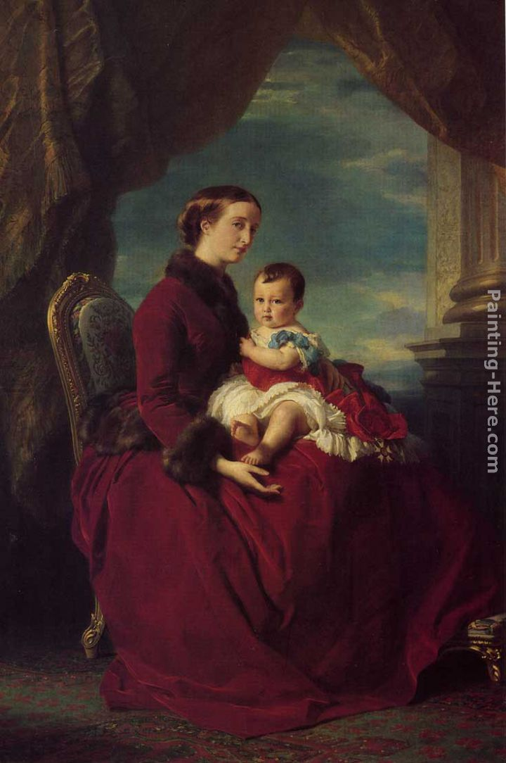 Franz Xavier Winterhalter The Empress Eugenie Holding Louis Napoleon, the Prince Imperial on her Knees Art Painting