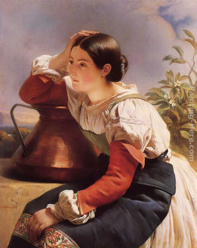 Franz Xavier Winterhalter Young Italian Girl by the Well Art Painting